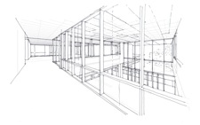 Interior conceptual drawing of Liberal Arts building